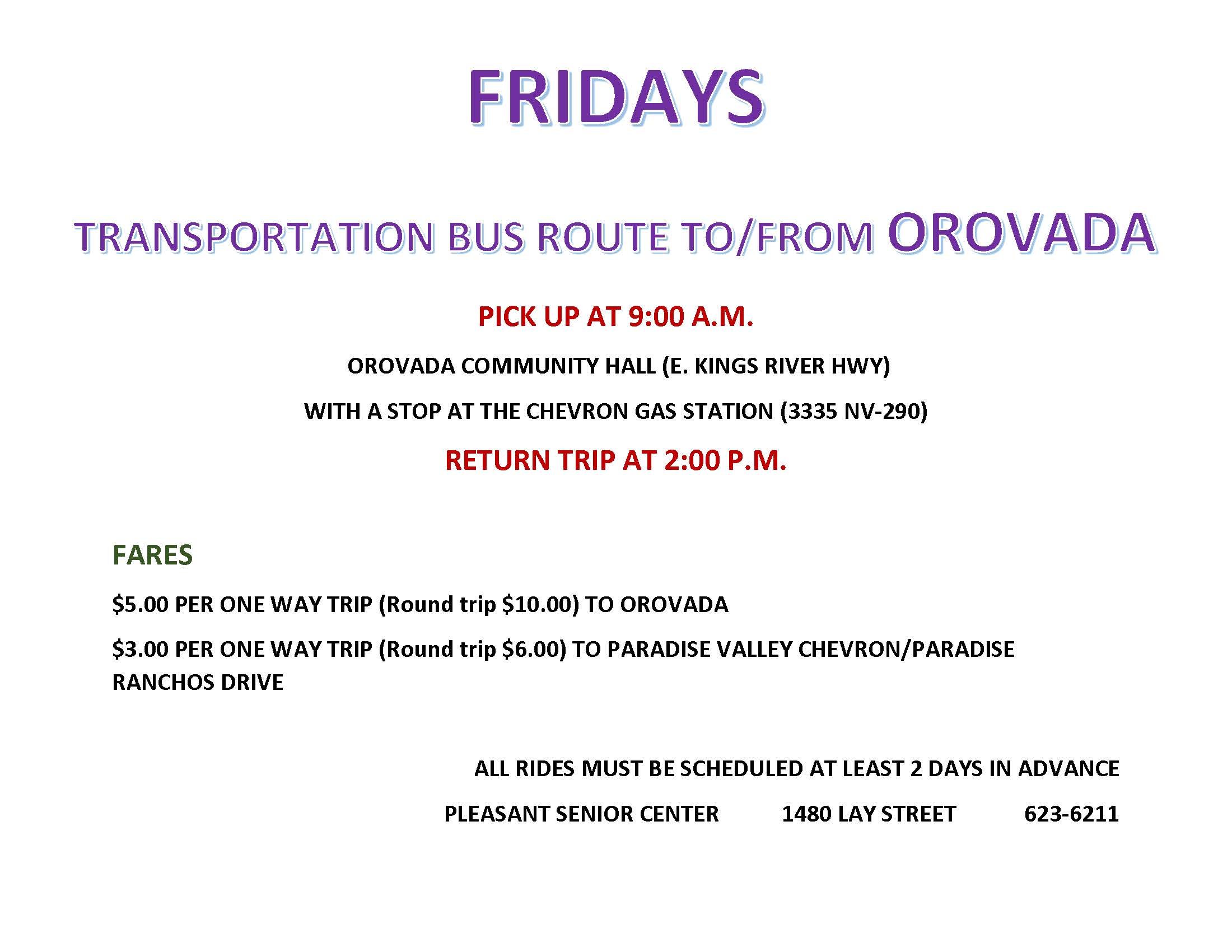Flyer for Orovada route